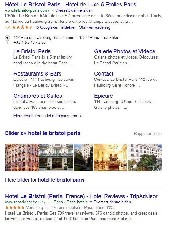 "Screenshot of search results for ""Hotel Le Bristol Paris"" Search"