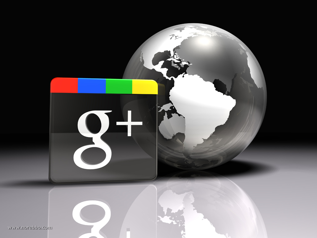 3d illustration of a large transparent Google Plus logo standing upright next to a globe