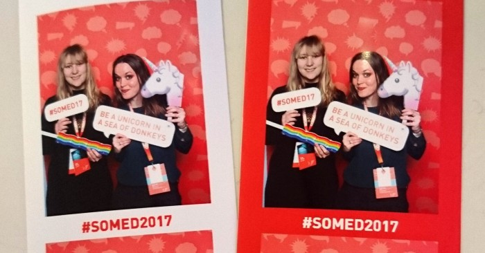 Silje Stenkøv og Linn-Therese Holsen med unicorns på Social Media Days 2017